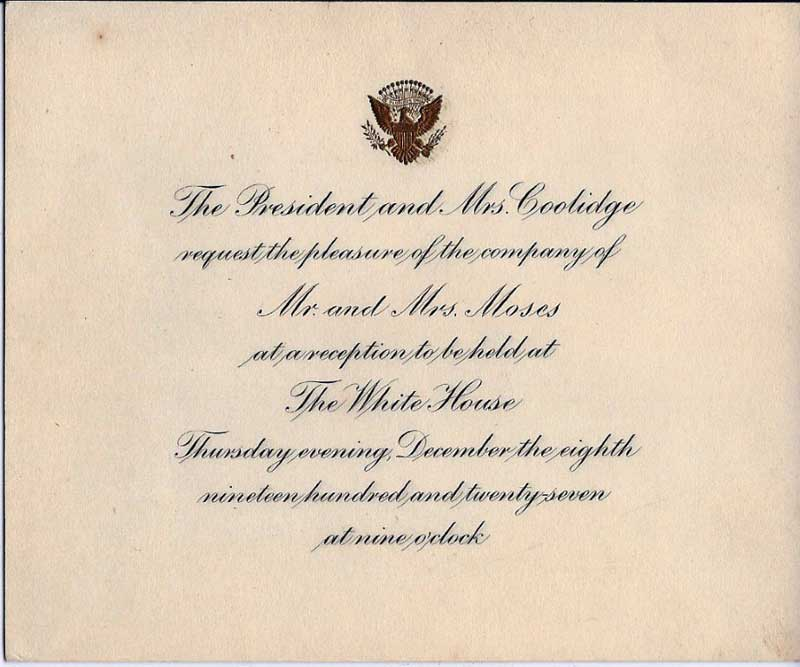 Thomas Morgans invitation to the White House for a reception with President Calvin Coolidge and Mrs Coolidge