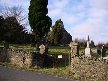 Entrance to St Gwynnos church Llanwynno