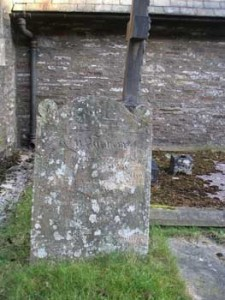 Evan Moses Headstone to the right of the main entrance at St. Gwynno's Church Llanwynno
