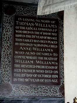 Commemorative plaque to Thomas William Y Grog in St Gwynnos church Llanwynno