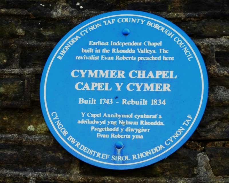 Cymer Y Capel Blue Plaque