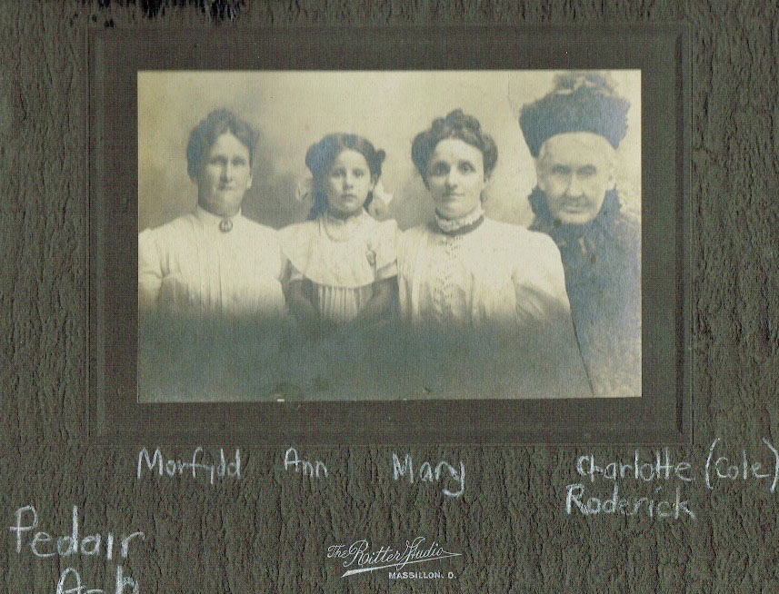 A composed photograph showing three of the Roderick girls with their mother sent to Massillon Ohio