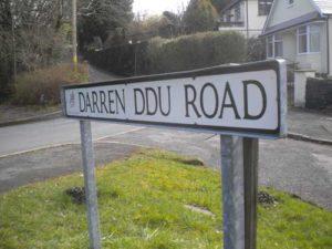 Darren Ddu Road sign