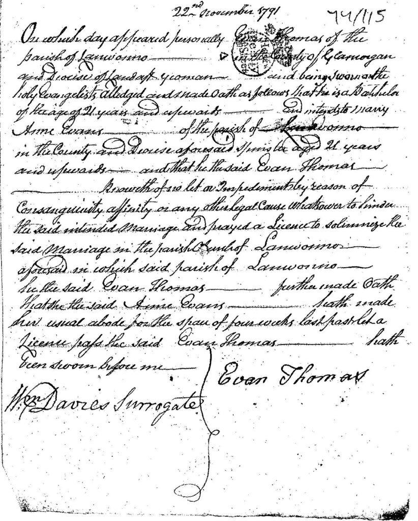 Evan's wedding license application